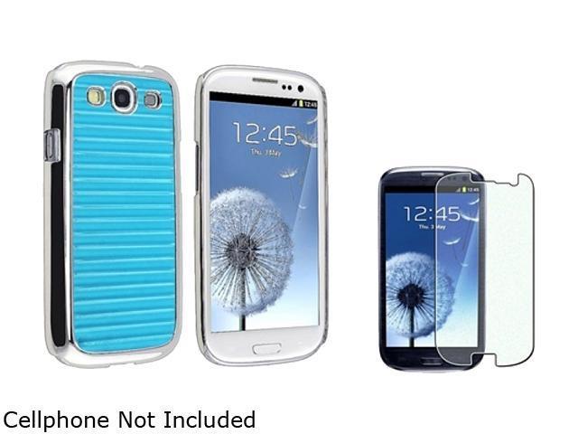 Insten Blue Stripe Aluminum Rear Hard Plastic Case + Colorful Diamond Screen Protector For Samsung Galaxy S3 920715