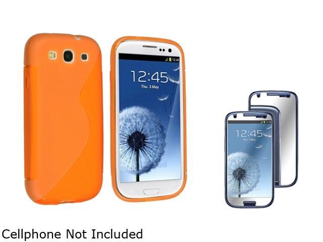 Insten Clear Orange S Shape TPU Rubber Case + Mirror Screen Protector For Samsung Galaxy S3 920731