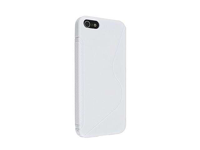 Insten TPU Rubber Skin Case compatible with Apple iPhone 5 / 5S, White S Shape