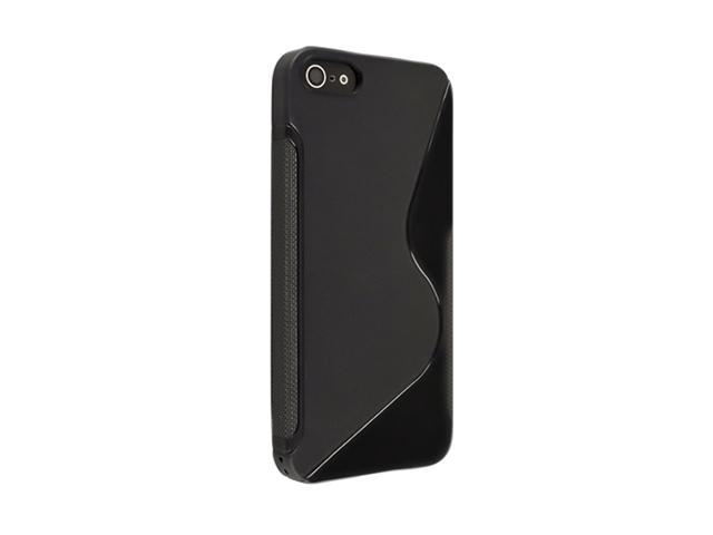 Insten Black S Shape 1X TPU Rubber Skin Case For iPhone 5 / 5S 697655