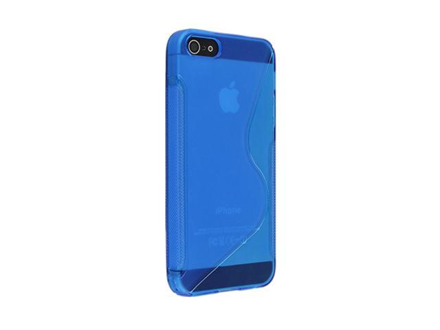 Insten Clear Blue S Shape 1X TPU Rubber Skin Case For iPhone 5 697657