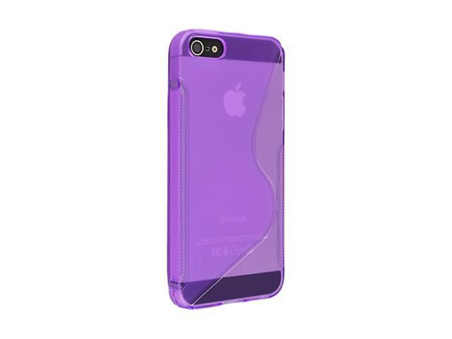 Insten Clear Purple S Shape 1X TPU Rubber Skin Case For iPhone 5 / 5S 697658