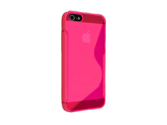 Insten Clear Hot Pink S Shape 1X TPU Rubber Skin Case For iPhone 5 / 5S 697660