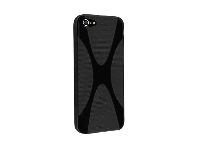 Insten Black X Shape 1X TPU Rubber Skin Case For iPhone 5 712648