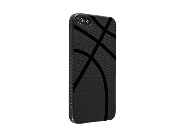 Insten Black Basketball Shape 1X TPU Rubber Skin Case For iPhone 5 / 5S 712646