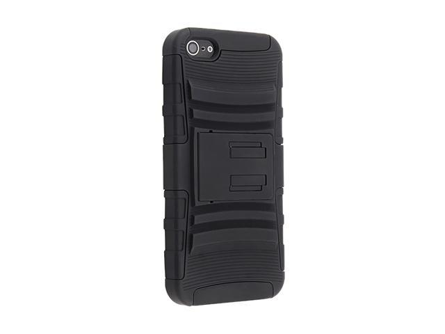 Insten Hybrid Armor Black Case with Clip and Stand For iPhone 5 798642
