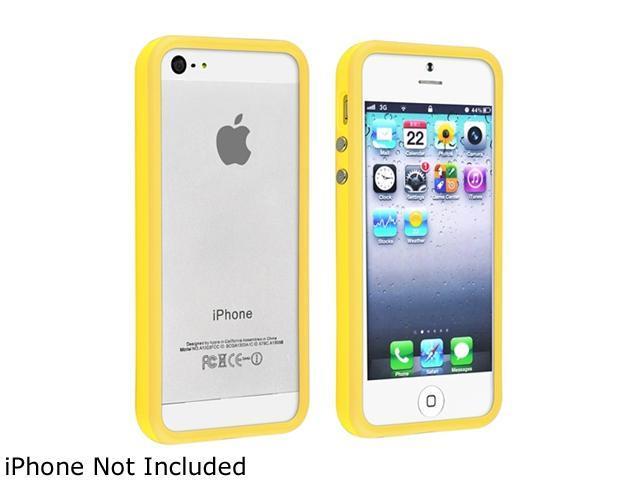 Insten Yellow TPU Rubber Bumper w/ Aluminum Button For iPhone 5 / 5S 802110
