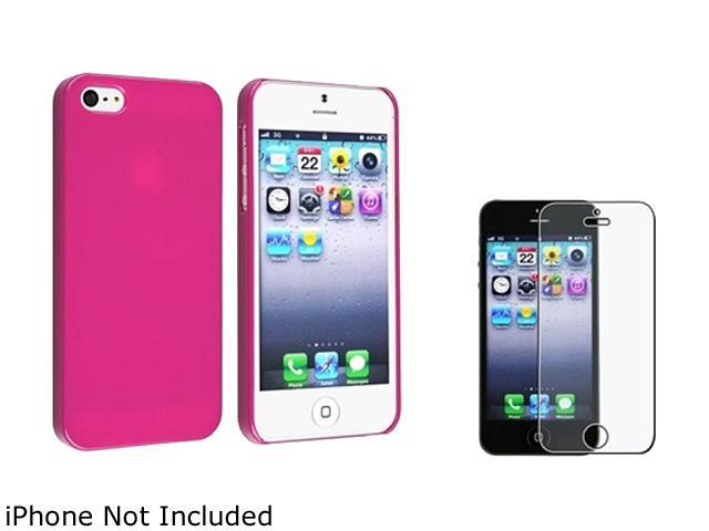 Insten Hot Pink Ice Cream Snap-On Case w/ Anti-glare Screen Protector For iPhone 5 755235