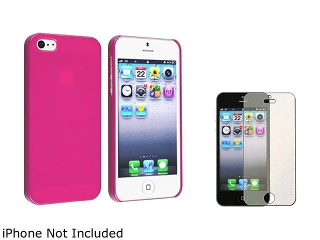 Insten Hot Pink Ice Cream Snap-On Case w/ Colorful Diamond Screen Protector For iPhone 5 755237