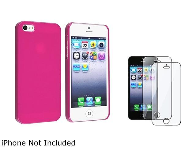 Insten Hot Pink Ice Cream Snap-On Case w/ 2-Pack Reusable Screen Protector For iPhone 5 755238