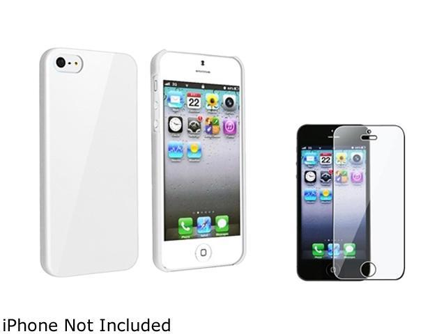Insten White Ice Cream Snap-On Case w/ Reusable Screen Protector For iPhone 5 755255