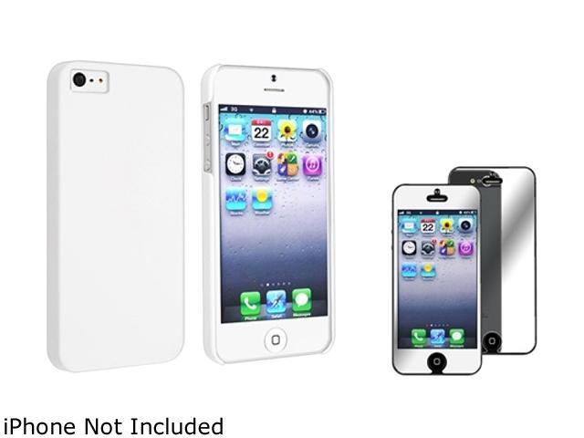 Insten White Snap-On Rubber Coated Case w/ Mirror Screen Protector For iPhone 5 755391
