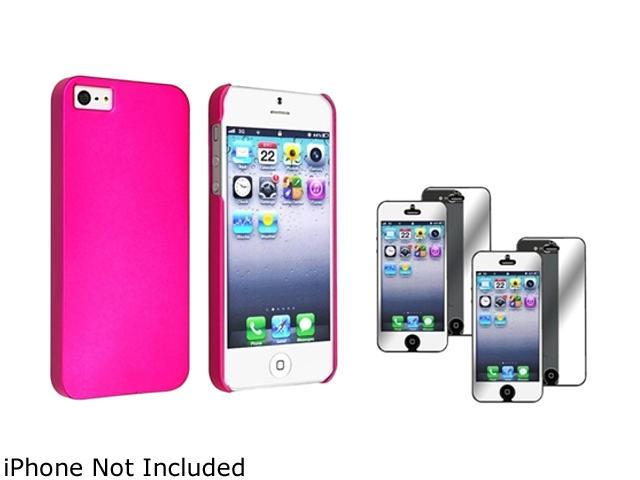 Insten Hot Pink Snap-On Rubber Coated Case w/ 2-Pack Mirror Screen Protector For iPhone 5 755406