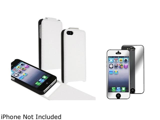 Insten White Snap-On Leather Case w/ Mirror Screen Protector For iPhone 5 755433