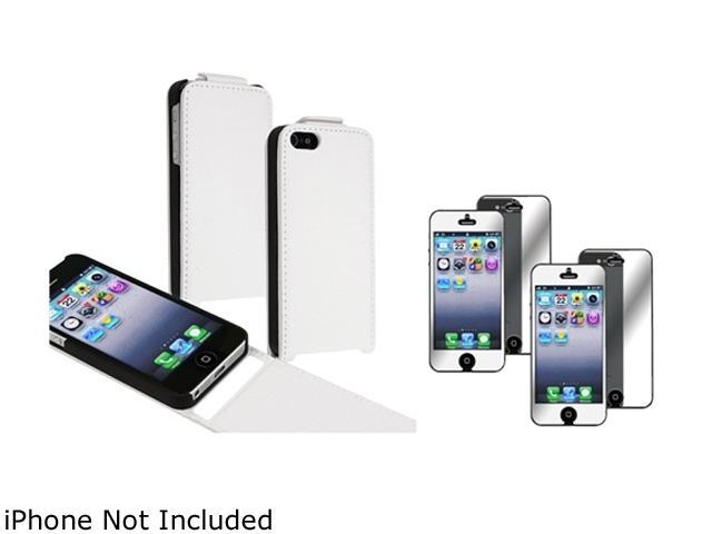 Insten White Snap-On Leather Case w/ 2-Pack Mirror Screen Protector For iPhone 5 755434