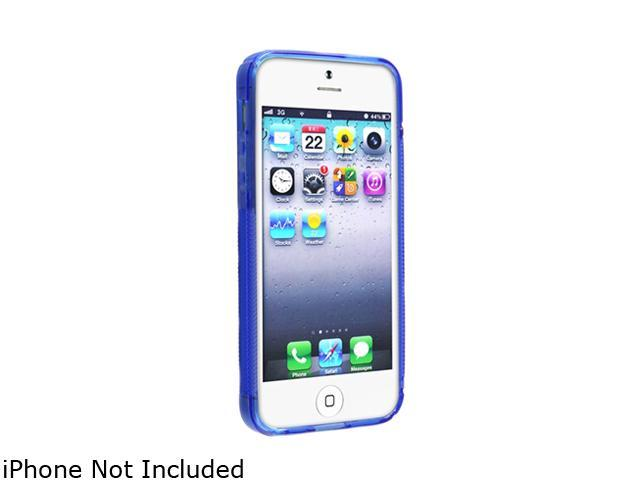Insten Clear Blue S Shape TPU Rubber Skin Case w/ 2-Pack Reusable Screen Protector For iPhone 5 738673