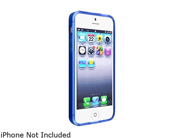 Insten Frost Clear Dark Blue TPU Case with 2pcs-set Mirror Screen Protector compatible with the NEW Apple iPhone 5
