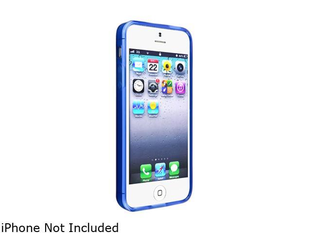 Insten Frost Clear Dark Blue TPU Case with Reusable Screen Protector compatible with the NEW Apple iPhone 5