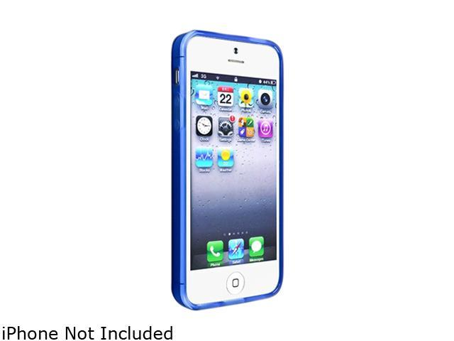 Insten Frost Clear Dark Blue TPU Case with 2pcs-set Reusable Screen Protector compatible with the NEW Apple iPhone 5