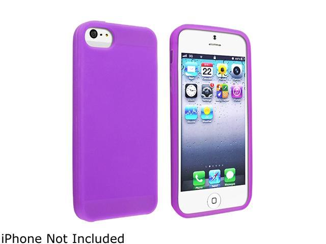 Insten Purple Skin Case with Reusable Screen Protector compatible with the NEW Apple iPhone 5