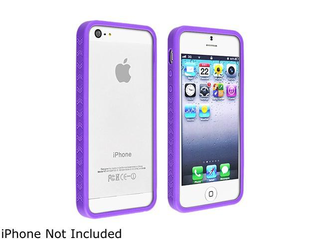 Insten Purple Bumper TPU rubber Case with Colorful Diamond Screen Cover Compatible with the NEW Apple iPhone 5