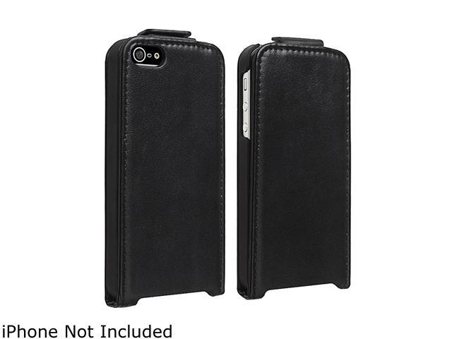 Insten Snap-on Leather Case compatible with Apple iPhone 5, Black