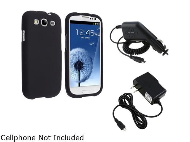 Insten 675032 Black Snap-on Rubber Coated Case & Travel Charger & Car Charger For Samsung Galaxy S3