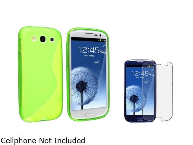 Insten Clear Green S Shape TPU Rubber Case & Reusable Anti-Glare Screen Protector For Samsung Galaxy S3 817869