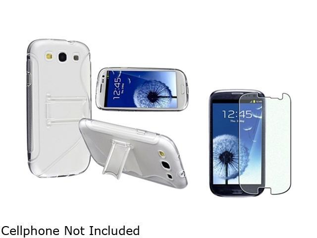 Insten Clear White S Shape TPU Rubber Skin Case w/ Stand & Colorful Diamond Screen Protector For Samsung Galaxy S3 752172