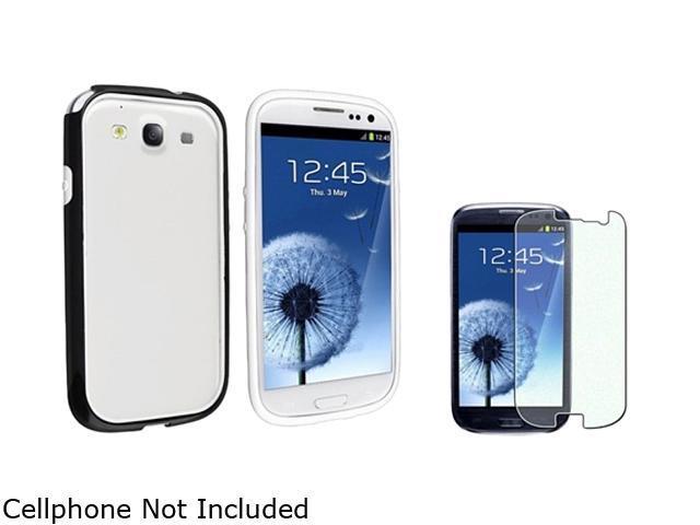 Insten Black / White TPU Rubber Bumper Case & Colorful Diamond Screen Protector For Samsung Galaxy S3 752164