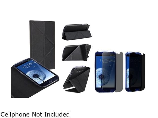 Insten Black Leather Case w/ Foldable Stand & Privacy Screen Protector For Samsung Galaxy S3 752134