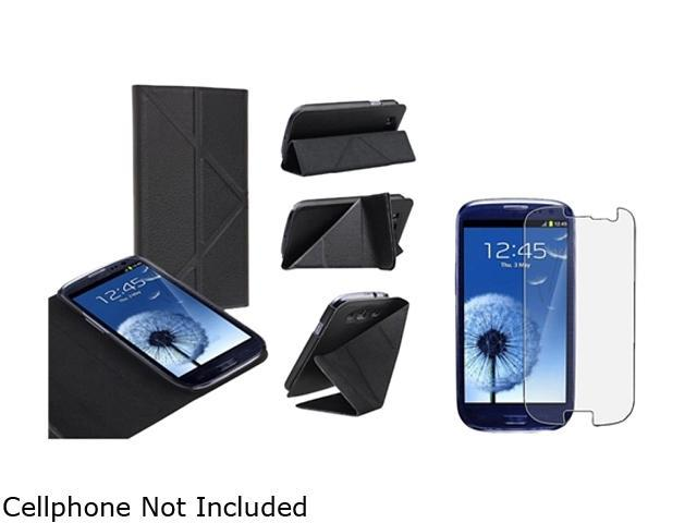 Insten Black Leather Case w/ Foldable Stand & Anti-glare Screen Protector For Samsung Galaxy S3 752132