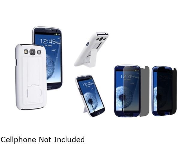 Insten White Snap-on Rubber Coated Case w/ Stand & Privacy Screen Protector For Samsung Galaxy S3 752113