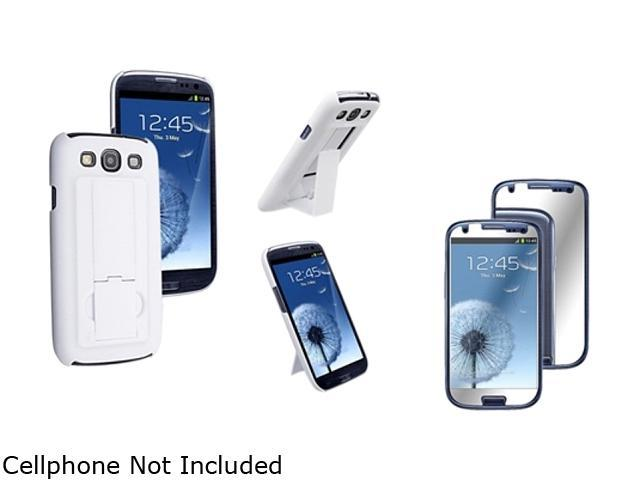 Insten White Snap-on Rubber Coated Case w/ Stand & Mirror Screen Protector For Samsung Galaxy S3 752112