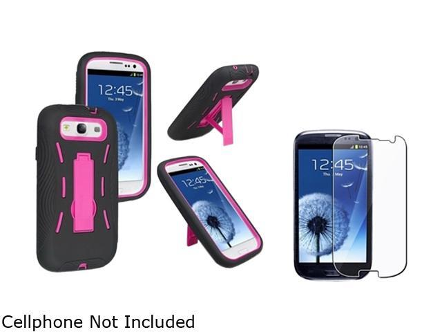 Insten Hot Pink Hard / Black Skin Hybrid Case w/ Stand & Reusable Screen Protector for Samsung Galaxy S3 678350
