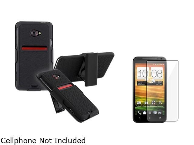 Insten Black Holster w/ Stand & Reusable Screen Protector for HTC EVO 4G LTE 678331