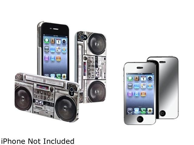 Insten Gray Old Player Snap-on Rubber Coated Case & Mirror Screen Protector For iPhone 4 / 4S 678283