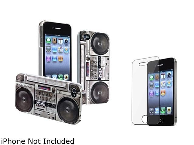 Insten Gray Old Player Snap-on Rubber Coated Case & Reusable Screen Protector For iPhone 4 / 4S 678281