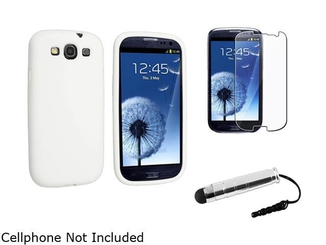 Insten White Silicone Skin Case & Reusable Screen Protector & Stylus For Samsung Galaxy S3 675010