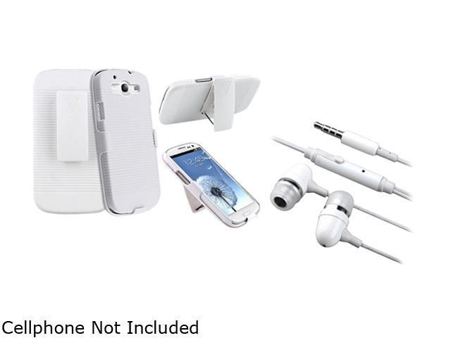 Insten White Holster w/ Stand & Stereo Headset For Samsung Galaxy S3 674996