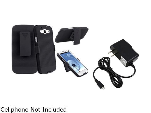 Insten Black Holster w/ Stand & Travel Charger For Samsung Galaxy S3 674994