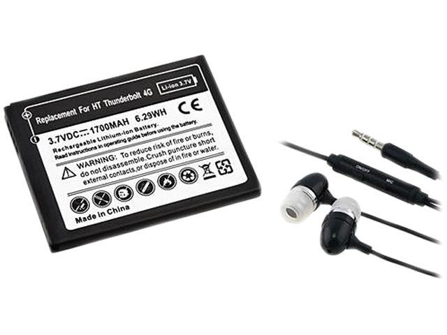 Insten Black Li-ion Battery+Black Universal 3.5mm In-Ear Stereo Headset w/ On-off & Mic Compatible With HTC Merge, myTouch 4G, ThunderBolt 4G T-Mobile myTouch 4G