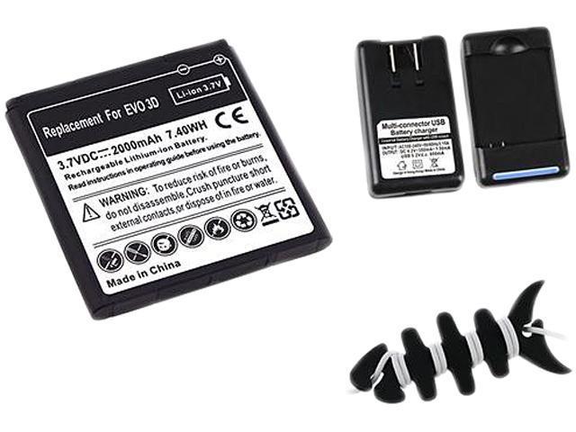 Insten 2X Black Li-Ion Standard Battery + Desktop Battery Charger + Black Headset Smart Wrap, Black Fishbone Compatible With HTC EVO 3D