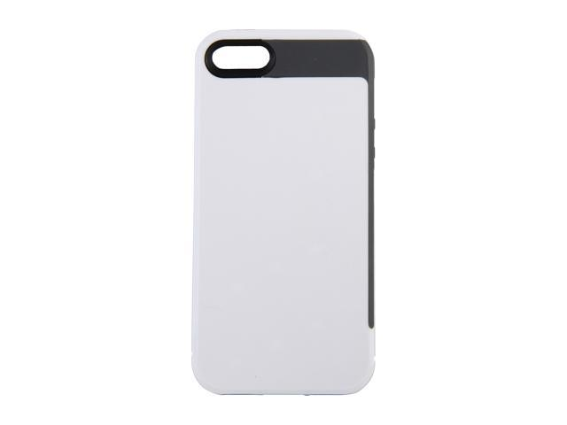 Incipio Faxion Optical White / Charcoal Gray Solid Semi-Rigid Soft Shell Case w/ Polycarbonate Frame for iPhone 5 / 5S IPH-824