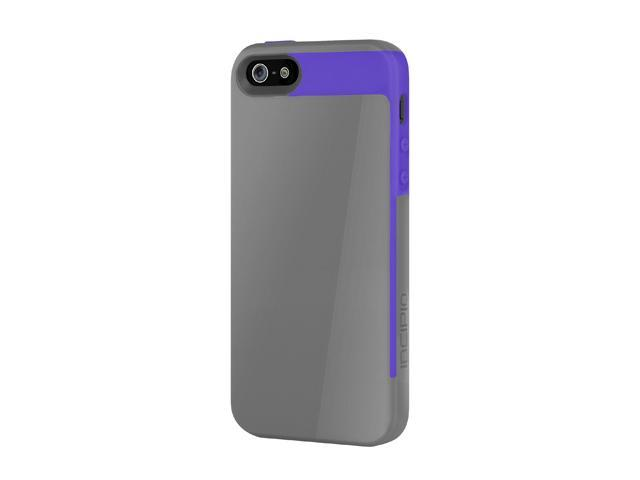 Incipio Faxion Charcoal Gray / Royal Purple Solid Semi-Rigid Soft Shell Case w/ Polycarbonate Frame for iPhone 5 / 5S IPH-827