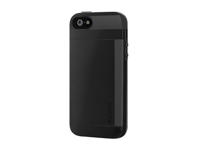 Incipio Stowaway Obsidian Black / Obsidian Black Solid Credit Card Hard Shell Case w/ Silicone Core for iPhone 5 / 5S IPH-851