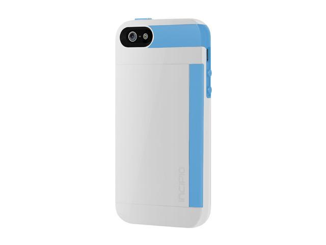 Incipio Stowaway Optical White / Cyan Blue Solid Credit Card Hard Shell Case w/ Silicone Core for iPhone 5 / 5S IPH-853