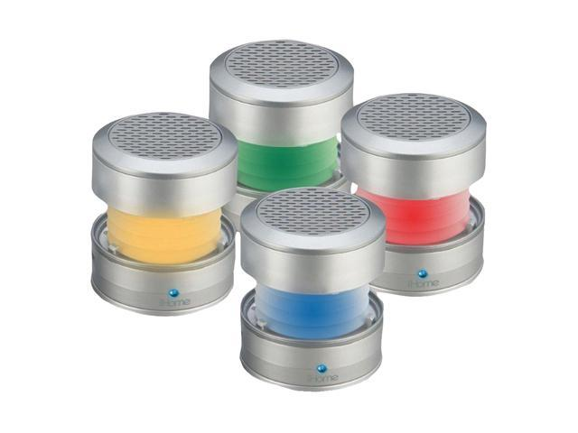 iHomeaudio Silver 3.5mm Rechargeable Color Changing Stereo Mini Speakers IHM62S
