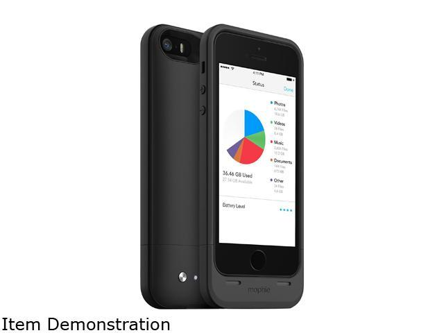 mophie Space Pack Black 1700 mAh Battery Case with 32GB built-in storage for iPhone 5 / 5s / SE 2617