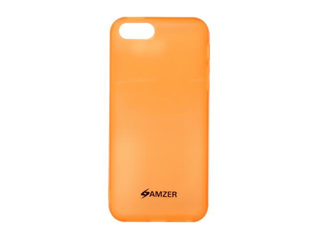 Amzer Soft Gel TPU Gloss Skin Fit Case Cover for Apple iPhone 5  - Translucent Orange (Fits All Carriers)